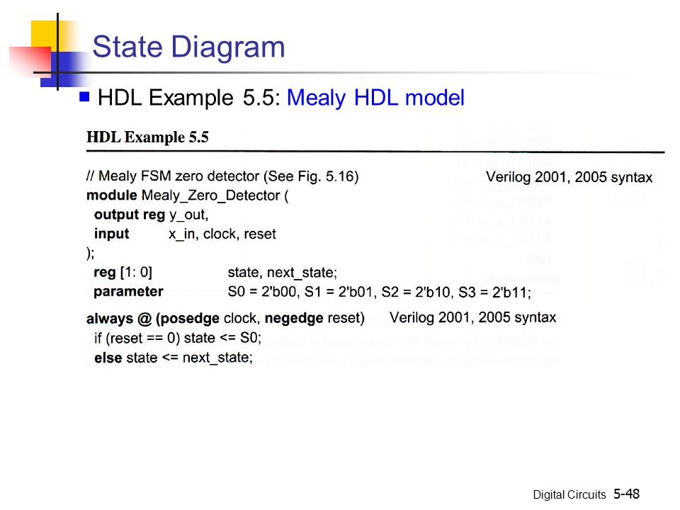 Digital Circuits 5-48 State Diagram ■ HDL Example 5.5: Mealy HDL model