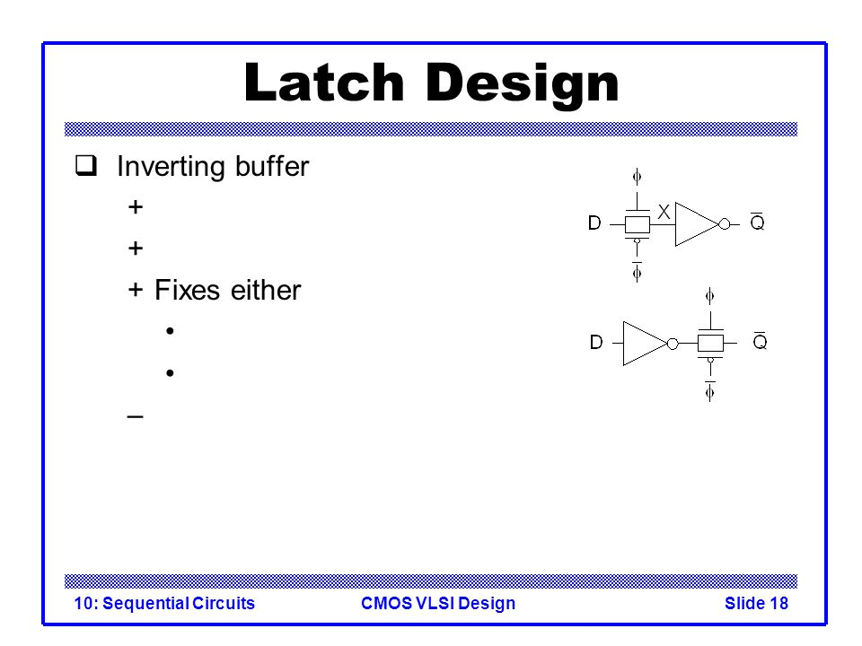CMOS VLSI Design10: Sequential CircuitsSlide 18 Latch Design  Inverting buffer + +Fixes either –