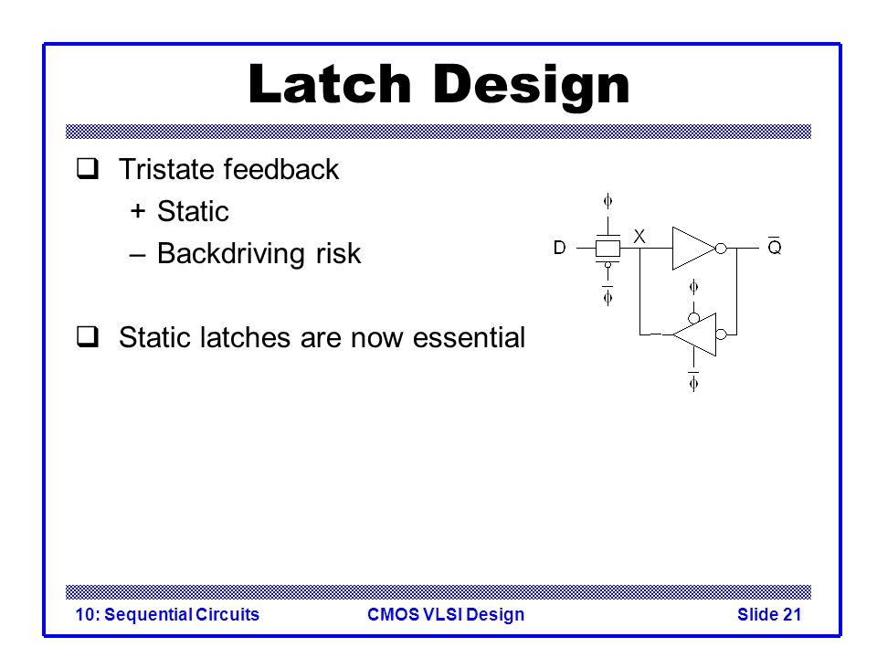 CMOS VLSI Design10: Sequential CircuitsSlide 21 Latch Design  Tristate feedback +Static –Backdriving risk  Static latches are now essential