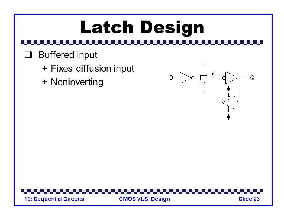 CMOS VLSI Design10: Sequential CircuitsSlide 23 Latch Design  Buffered input +Fixes diffusion input +Noninverting