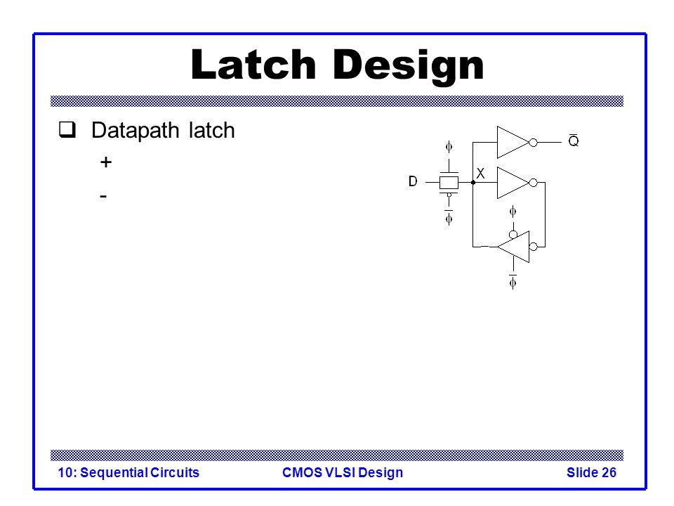 CMOS VLSI Design10: Sequential CircuitsSlide 26 Latch Design  Datapath latch + -