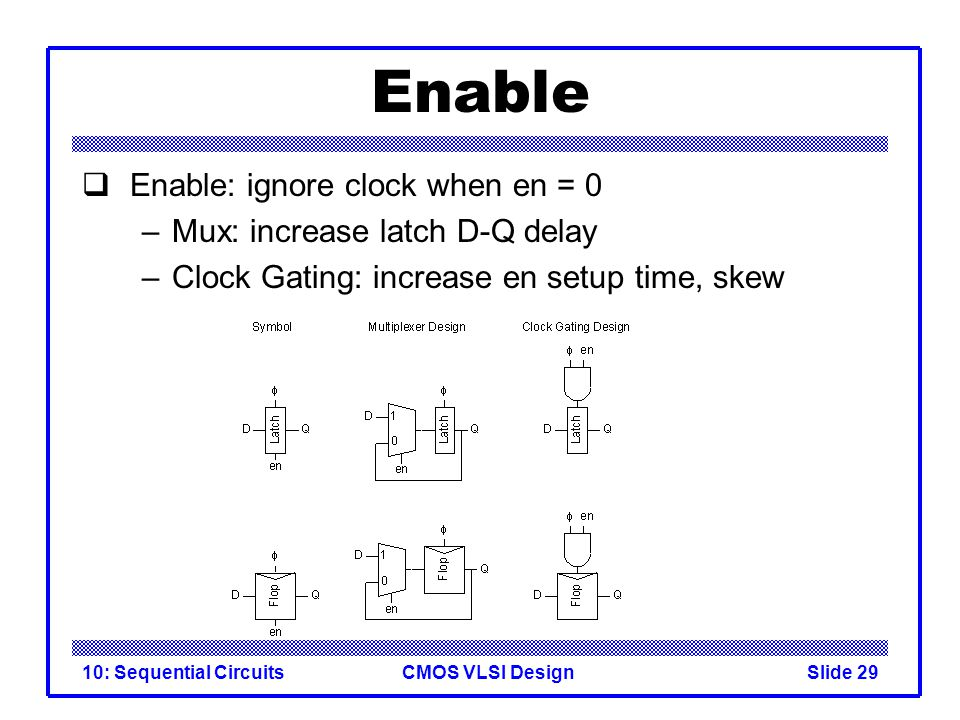 CMOS VLSI Design10: Sequential CircuitsSlide 29 Enable  Enable: ignore clock when en = 0 –Mux: increase latch D-Q delay –Clock Gating: increase en setup time, skew