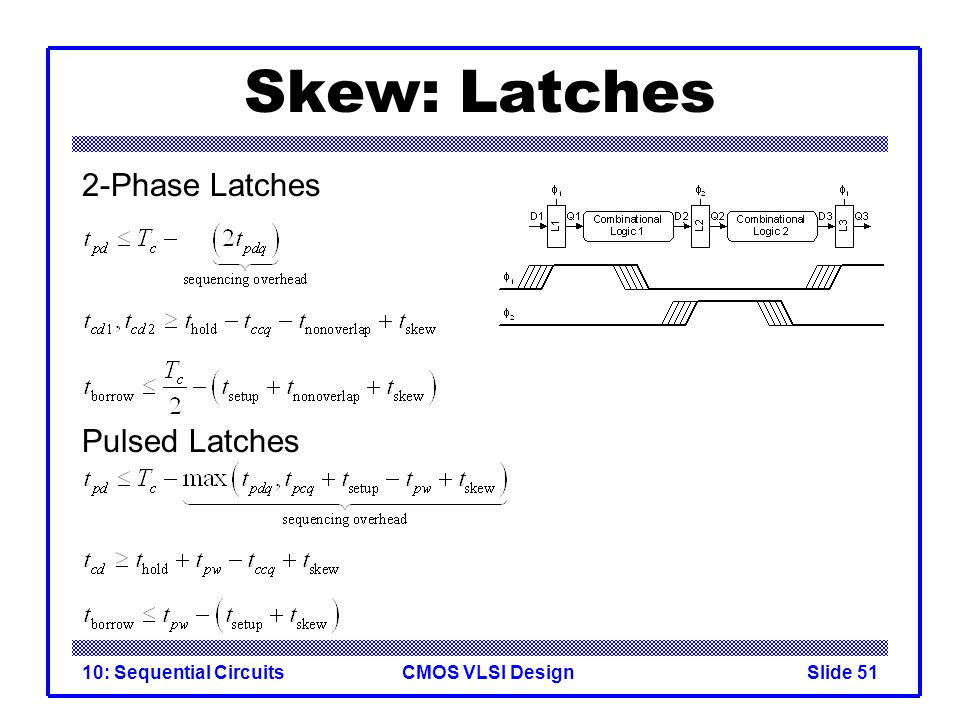 CMOS VLSI Design10: Sequential CircuitsSlide 51 Skew: Latches 2-Phase Latches Pulsed Latches