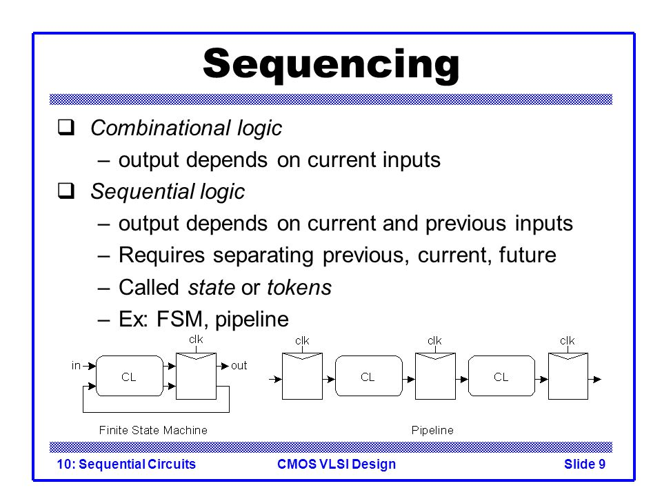 CMOS VLSI Design10: Sequential CircuitsSlide 9 Sequencing  Combinational logic –output depends on current inputs  Sequential logic –output depends o