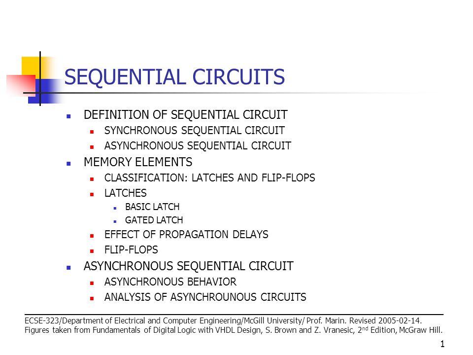22 ASYNCHRONOUS SEQUENTIAL CIRCUIT ASYNCHRONOUS BEHAVIOR Consider the Set-Reset latch.