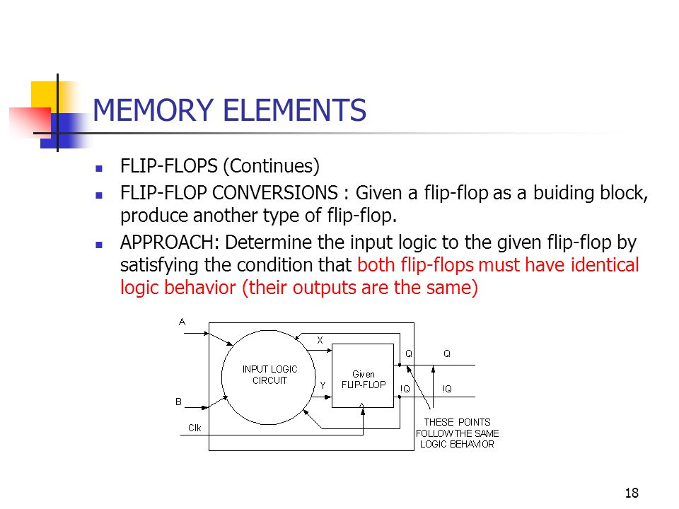 18 MEMORY ELEMENTS FLIP-FLOPS (Continues) FLIP-FLOP CONVERSIONS : Given a flip-flop as a buiding block, produce another type of flip-flop.