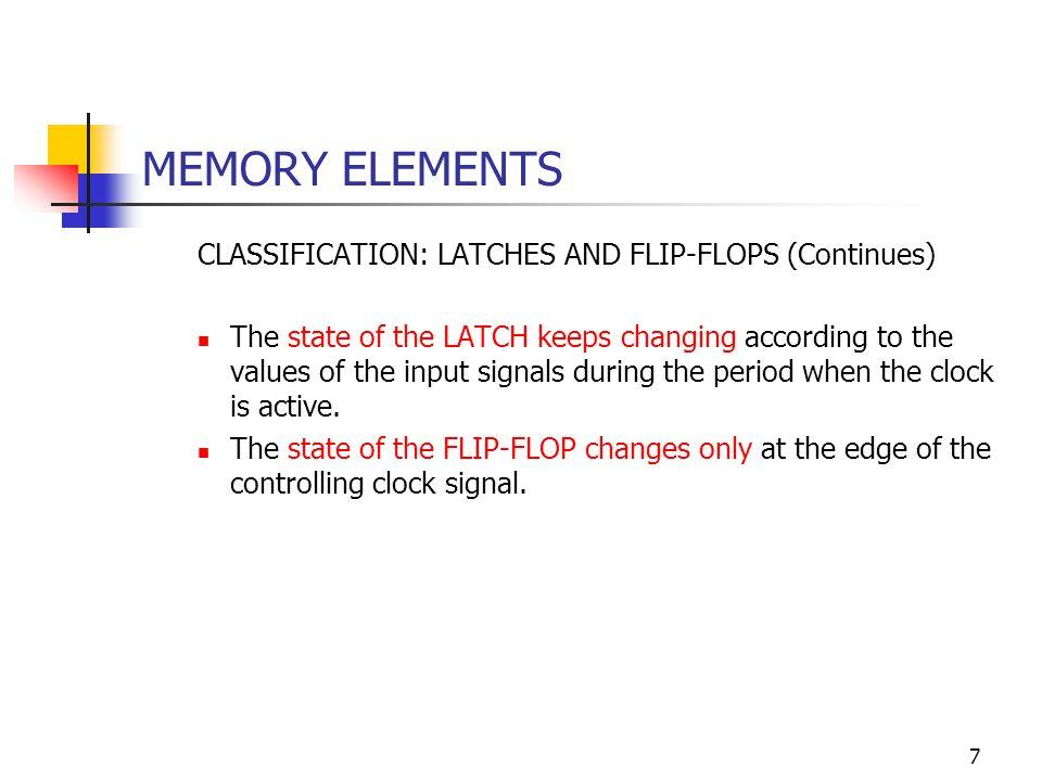 8 MEMORY ELEMENTS LATCHES: BASIC LATCH