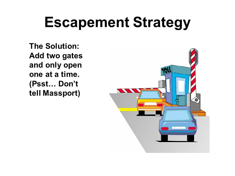 Escapement Strategy The Solution: Add two gates and only open one at a time. (Psst… Don't tell Massport)