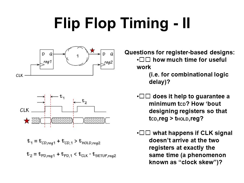 Flip Flop Timing - II Questions for register-based designs:  how much time for useful work (i.e. for combinational logic delay)?  does it help to