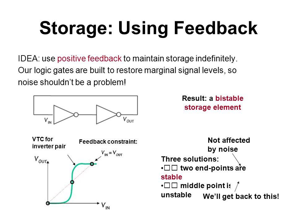Storage: Using Feedback IDEA: use positive feedback to maintain storage indefinitely.