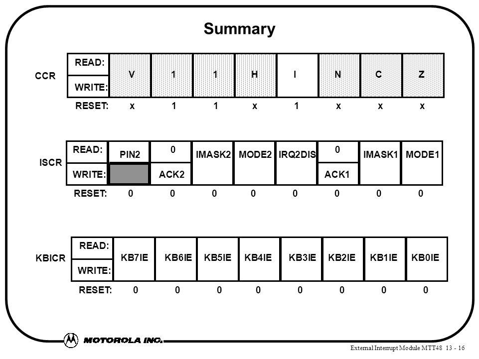 External Interrupt Module MTT48 13 - 16 Summary RESET:00000000 WRITE: ACK2 ACK1 READ: 0 0 ISCR PIN2IMASK2MODE2IRQ2DISIMASK1MODE1 RESET:00000000 WRITE: READ: KBICR KB7IE KB6IE KB5IE KB4IE KB3IE KB2IE KB1IE KB0IE RESET:x11x1xxx WRITE: READ: CCR V 1 1HI N C Z