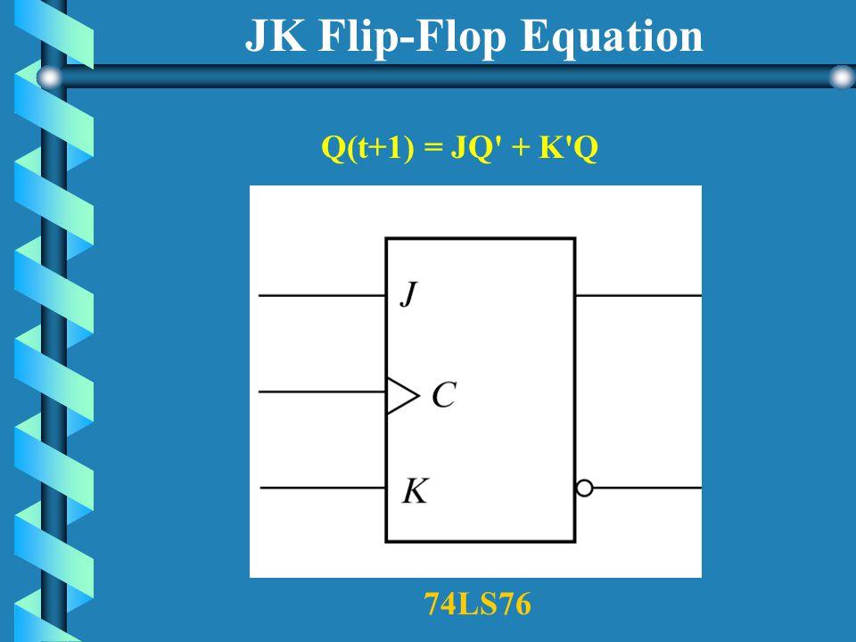 JK Flip-Flop J K Q(t+1) 0 0 No Change 0 1 0 (reset) 1 0 1(set) 1 1 Toggles