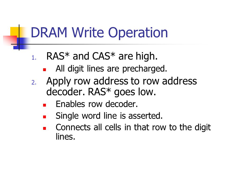 DRAM Write Operation 1. RAS* and CAS* are high. All digit lines are precharged.
