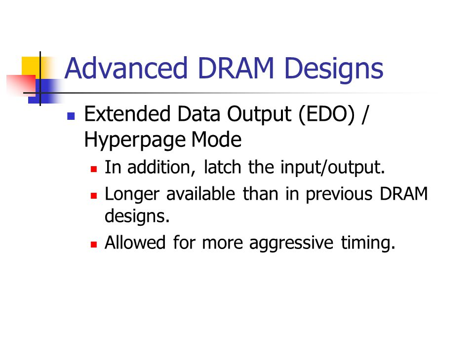 Advanced DRAM Designs Extended Data Output (EDO) / Hyperpage Mode In addition, latch the input/output.