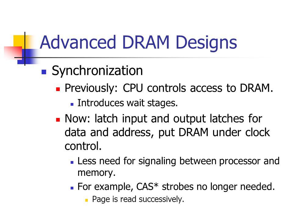 Advanced DRAM Designs Synchronization Previously: CPU controls access to DRAM.