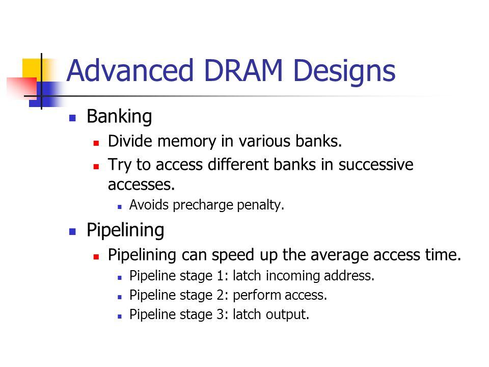 Advanced DRAM Designs Banking Divide memory in various banks.