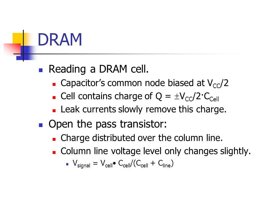 DRAM Reading a DRAM cell.