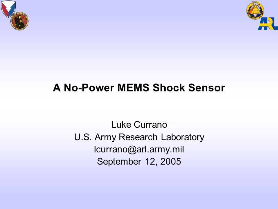 A No-Power MEMS Shock Sensor Luke Currano U.S.