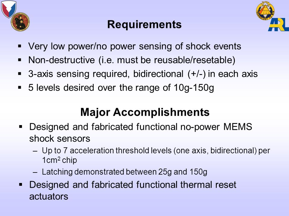 Requirements  Very low power/no power sensing of shock events  Non-destructive (i.e.