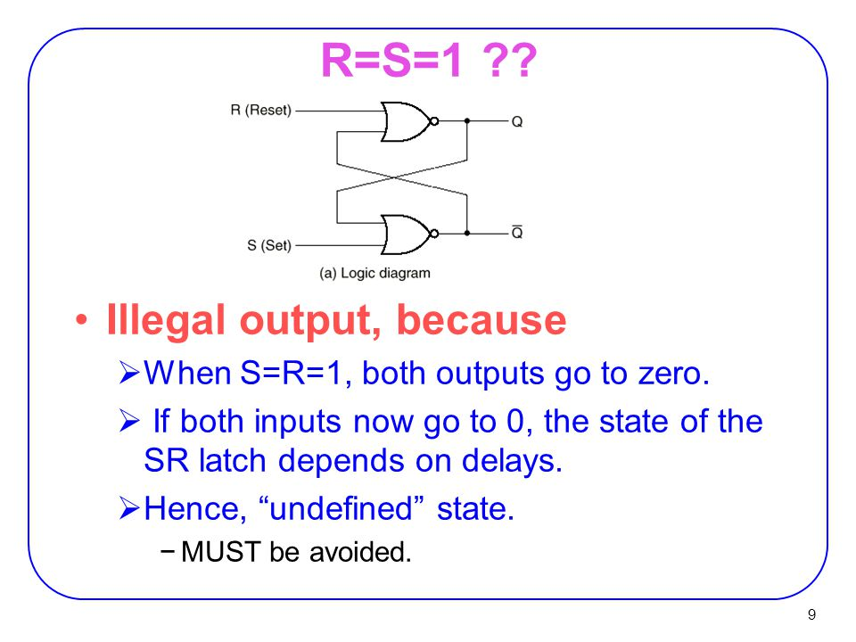 9 R=S=1 . Illegal output, because  When S=R=1, both outputs go to zero.