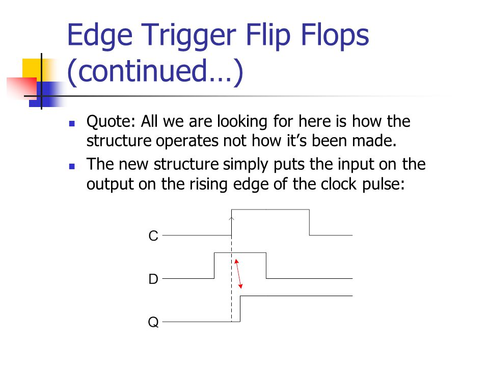 Edge Trigger Flip Flops (continued…) Quote: All we are looking for here is how the structure operates not how it's been made. The new structure simply