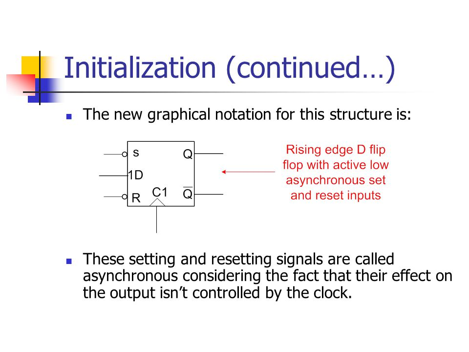 Initialization (continued…) The new graphical notation for this structure is: These setting and resetting signals are called asynchronous considering the fact that their effect on the output isn't controlled by the clock.