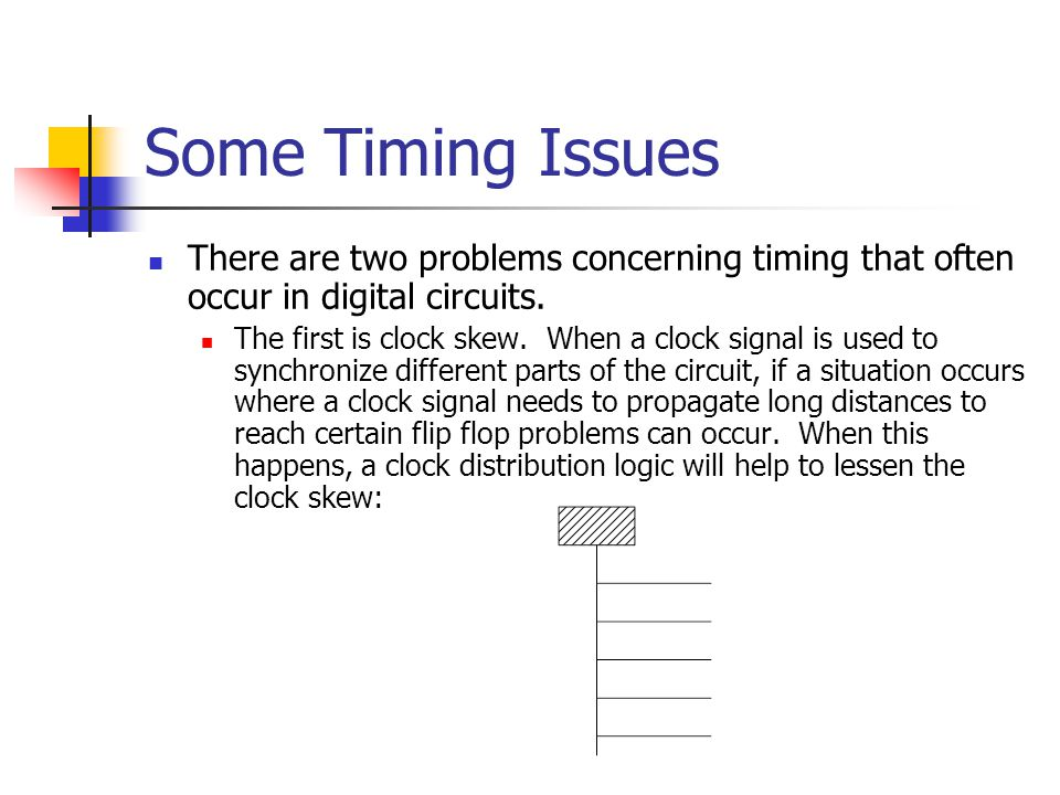 Some Timing Issues There are two problems concerning timing that often occur in digital circuits. The first is clock skew. When a clock signal is used