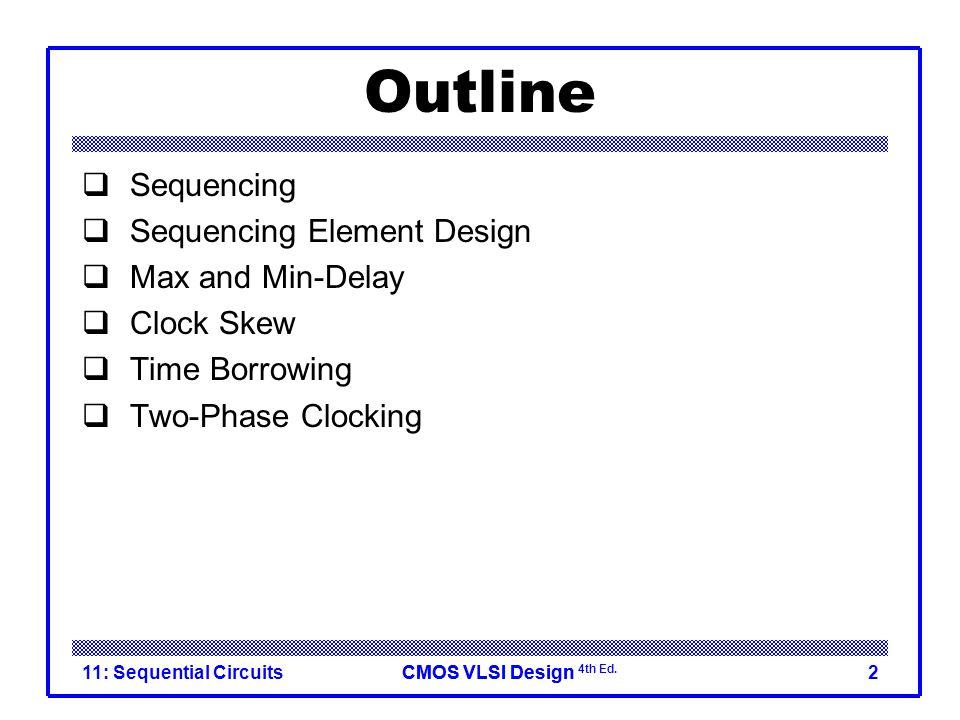 CMOS VLSI DesignCMOS VLSI Design 4th Ed. Sequential Logic 11: Sequential Circuits3