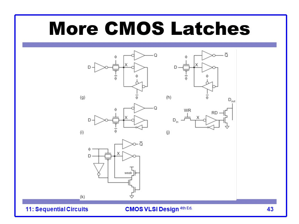 CMOS VLSI DesignCMOS VLSI Design 4th Ed. More CMOS Latches 11: Sequential Circuits43