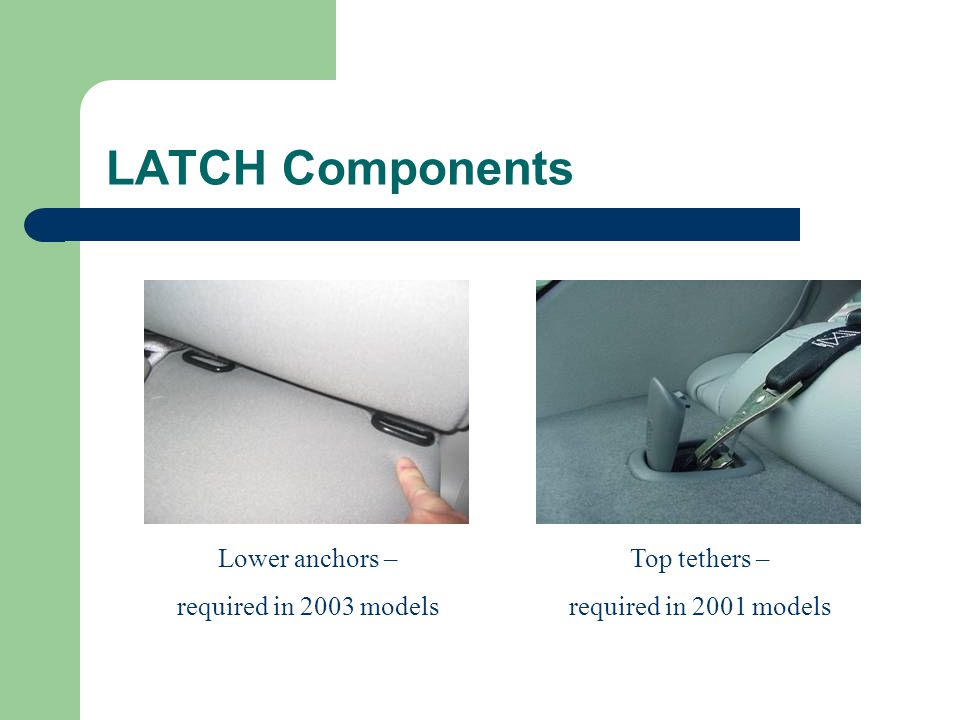 LATCH Components Lower anchors – required in 2003 models Top tethers – required in 2001 models