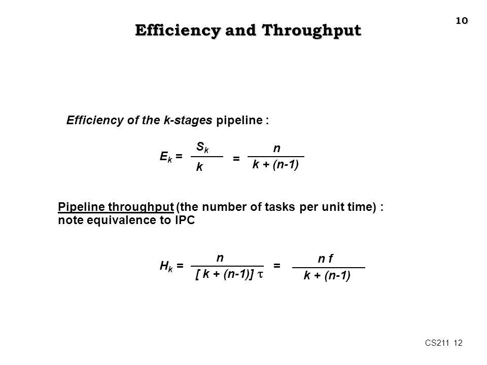 CS211 12 Efficiency and Throughput Efficiency of the k-stages pipeline : E k = SkSk k = n k + (n-1) Pipeline throughput (the number of tasks per unit