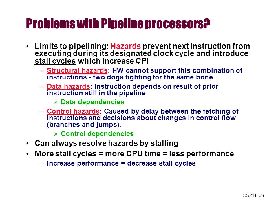 CS211 39 Problems with Pipeline processors? Limits to pipelining: Hazards prevent next instruction from executing during its designated clock cycle an