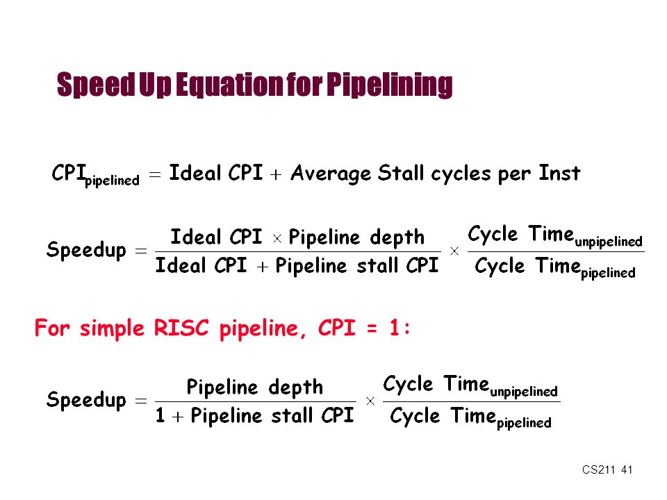 CS211 41 Speed Up Equation for Pipelining For simple RISC pipeline, CPI = 1: