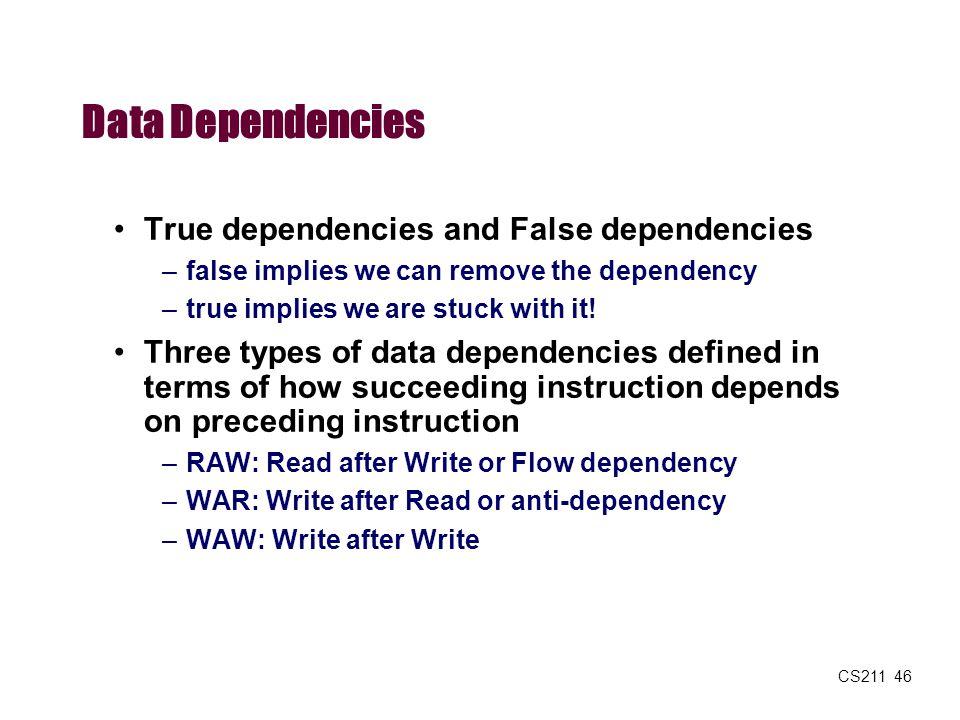 CS211 46 Data Dependencies True dependencies and False dependencies –false implies we can remove the dependency –true implies we are stuck with it! Th