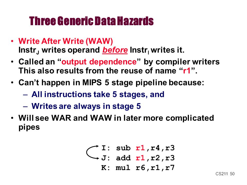"""CS211 50 Three Generic Data Hazards Write After Write (WAW) Instr J writes operand before Instr I writes it. Called an """"output dependence"""" by compiler"""