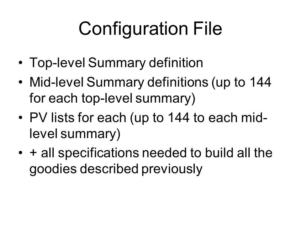 Configuration File Elements XML files parsed using XML:Simple.