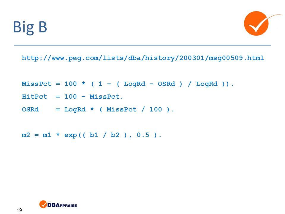 19 Big B http://www.peg.com/lists/dba/history/200301/msg00509.html MissPct = 100 * ( 1 – ( LogRd – OSRd ) / LogRd )).