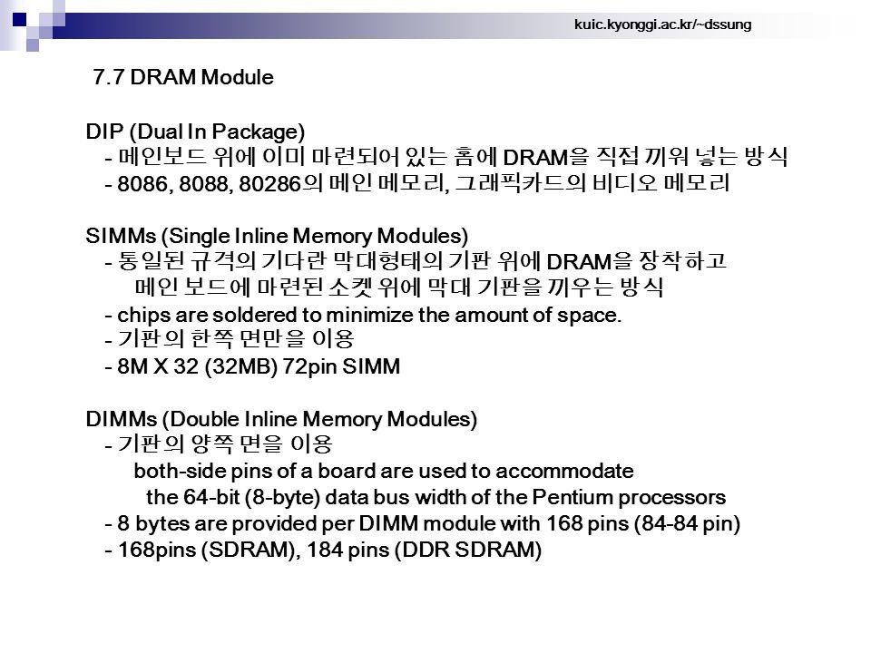 kuic.kyonggi.ac.kr/~dssung 7.7 DRAM Module DIP (Dual In Package) - 메인보드 위에 이미 마련되어 있는 홈에 DRAM 을 직접 끼워 넣는 방식 - 8086, 8088, 80286 의 메인 메모리, 그래픽카드의 비디오 메모리 SIMMs (Single Inline Memory Modules) - 통일된 규격의 기다란 막대형태의 기판 위에 DRAM 을 장착하고 메인 보드에 마련된 소켓 위에 막대 기판을 끼우는 방식 - chips are soldered to minimize the amount of space.