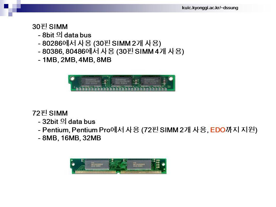 kuic.kyonggi.ac.kr/~dssung 30 핀 SIMM - 8bit 의 data bus - 80286 에서 사용 (30 핀 SIMM 2 개 사용 ) - 80386, 80486 에서 사용 (30 핀 SIMM 4 개 사용 ) - 1MB, 2MB, 4MB, 8MB 72 핀 SIMM - 32bit 의 data bus - Pentium, Pentium Pro 에서 사용 (72 핀 SIMM 2 개 사용, EDO 까지 지원 ) - 8MB, 16MB, 32MB