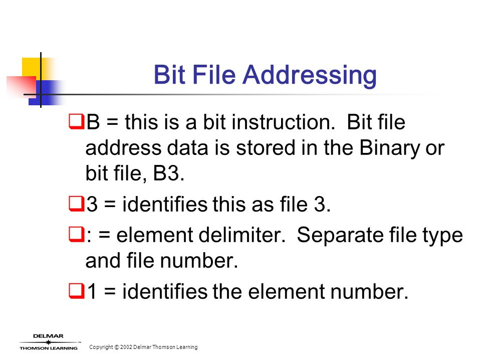 Copyright © 2002 Delmar Thomson Learning Bit File Addressing  B = this is a bit instruction.