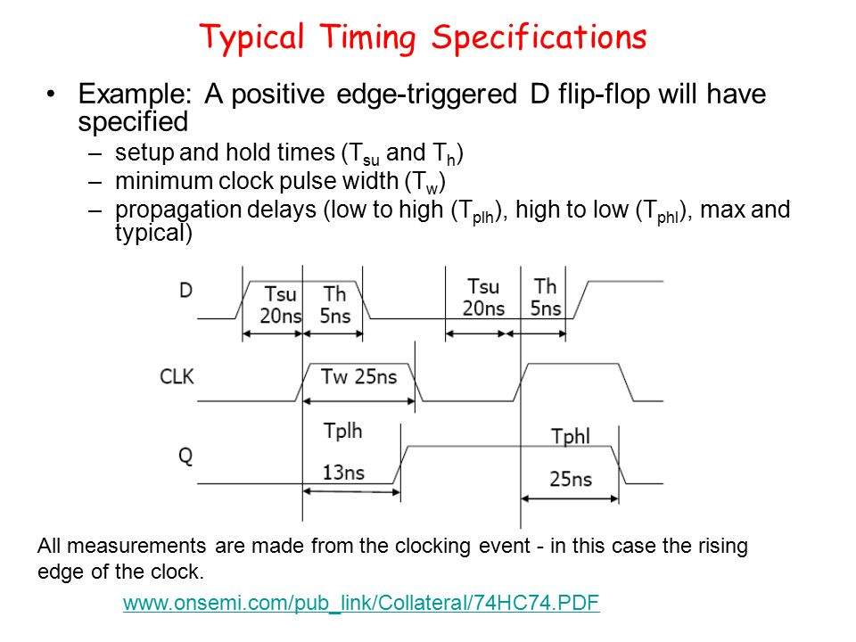 Typical Timing Specifications Example: A positive edge-triggered D flip-flop will have specified –setup and hold times (T su and T h ) –minimum clock pulse width (T w ) –propagation delays (low to high (T plh ), high to low (T phl ), max and typical) All measurements are made from the clocking event - in this case the rising edge of the clock.
