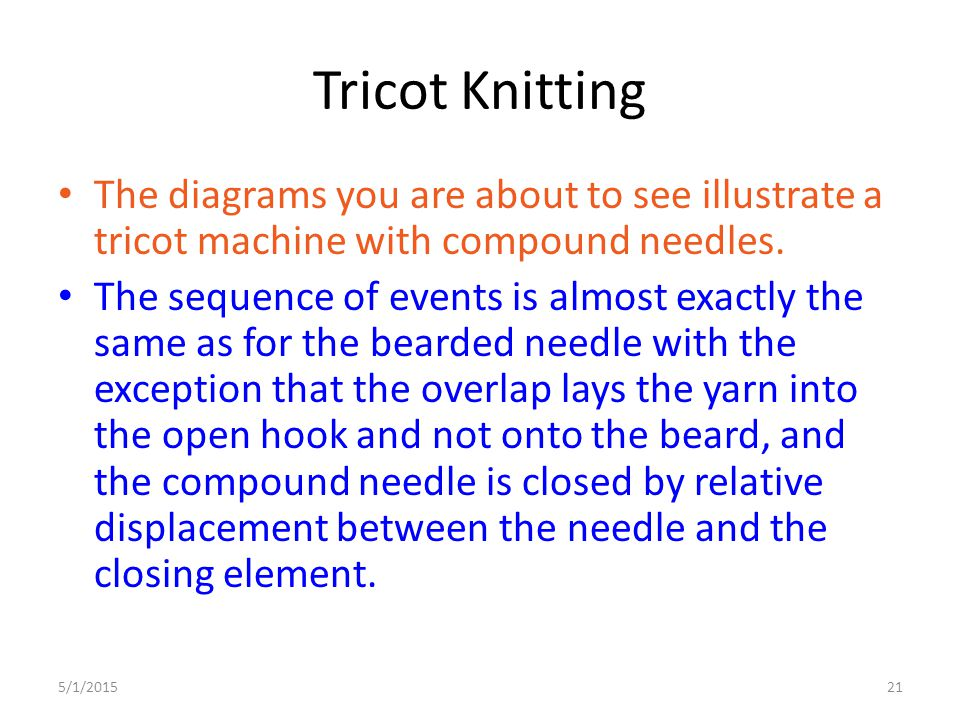 5/1/201521 Tricot Knitting The diagrams you are about to see illustrate a tricot machine with compound needles. The sequence of events is almost exact
