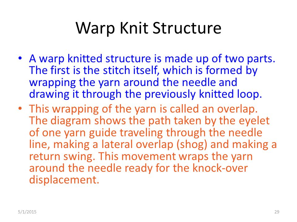 5/1/201529 Warp Knit Structure A warp knitted structure is made up of two parts. The first is the stitch itself, which is formed by wrapping the yarn