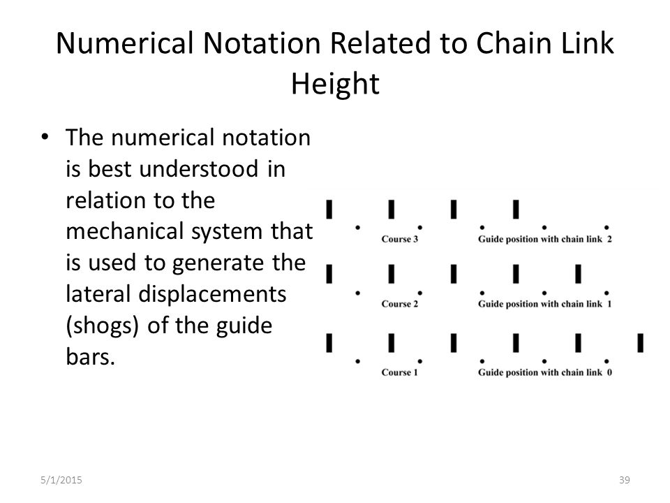 5/1/201539 Numerical Notation Related to Chain Link Height The numerical notation is best understood in relation to the mechanical system that is used