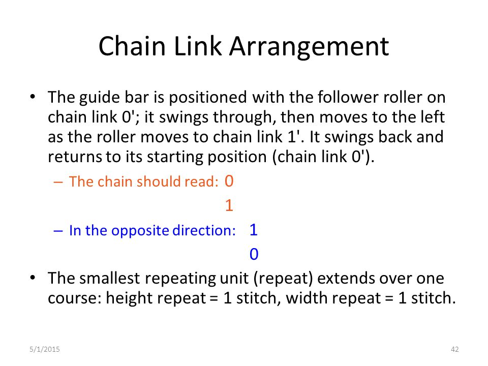 5/1/201542 Chain Link Arrangement The guide bar is positioned with the follower roller on chain link 0'; it swings through, then moves to the left as