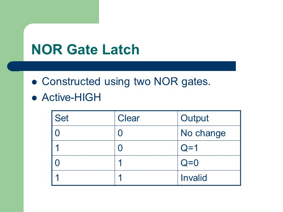 NOR Gate Latch Constructed using two NOR gates.