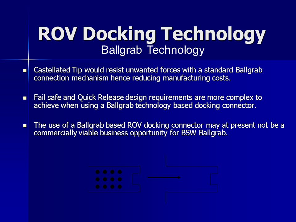 ROV Docking Technology Castellated Tip would resist unwanted forces with a standard Ballgrab connection mechanism hence reducing manufacturing costs.
