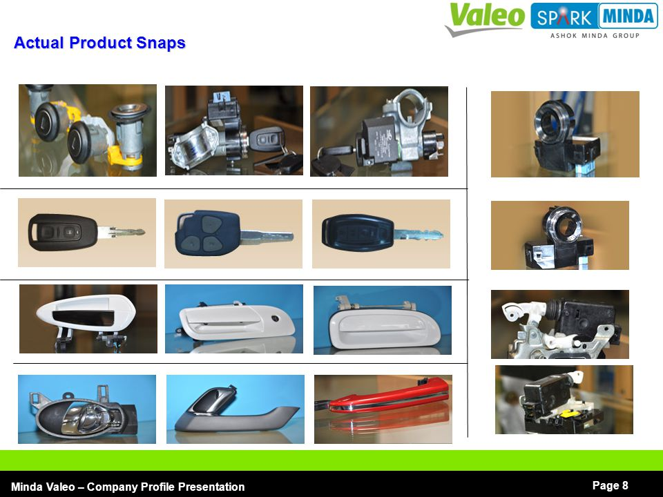 I Minda Valeo – Company Profile Presentation Page 19 Door Handles – Current & Future Product Technology Current Process & Part → Plastic Injection Moulding with Gas injection → Pressure Die Casting in Zamak & Aluminium → Body color painting, chrome plating  Mechatronic Handles Future -  Inertial system  Switch, sensors & antennas integration  Electrical Back Door Opener Mechatronic handles Mechanical handles