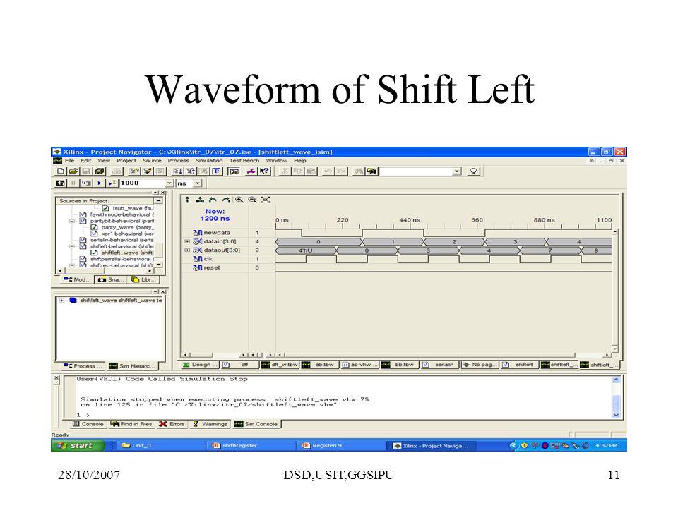 28/10/2007DSD,USIT,GGSIPU11 Waveform of Shift Left