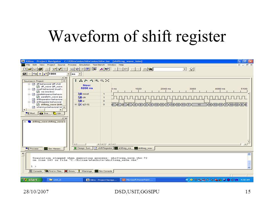 28/10/2007DSD,USIT,GGSIPU15 Waveform of shift register